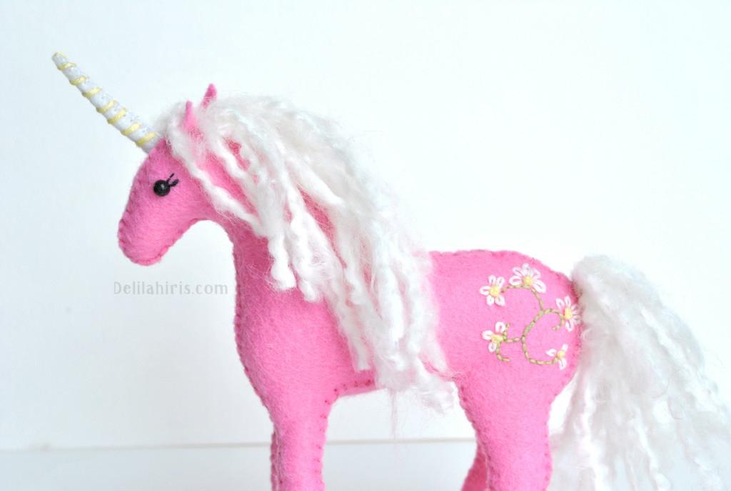 embroidered felt unicorn