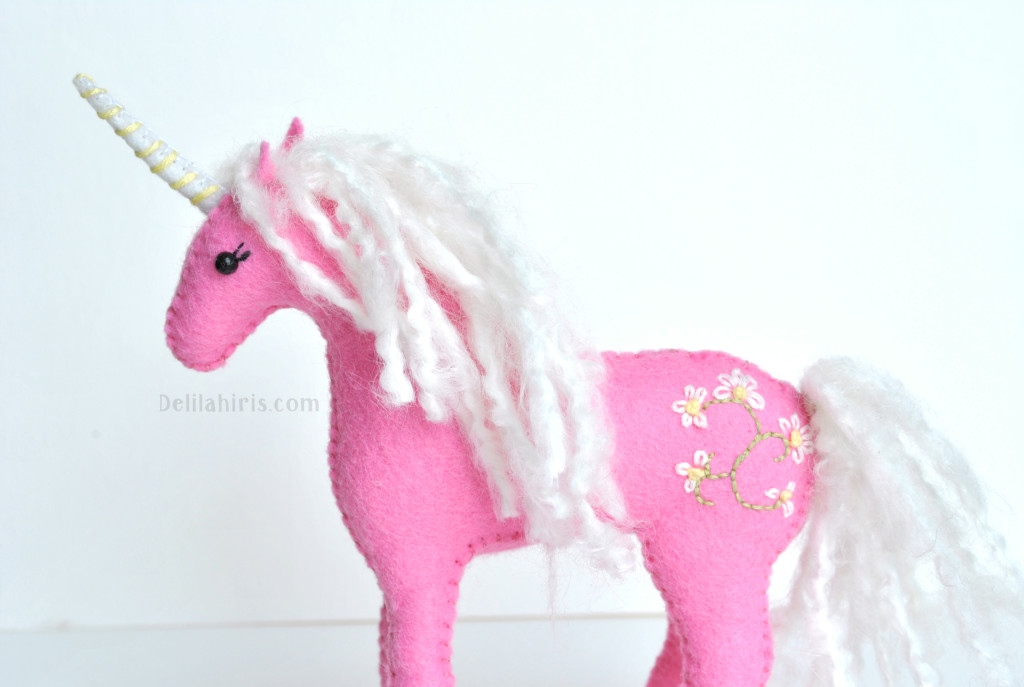 embroidered felt unicorn