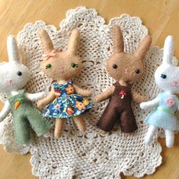 mini felt bunny doll pattern