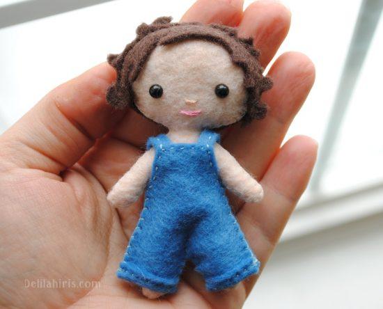 boy mini felt doll