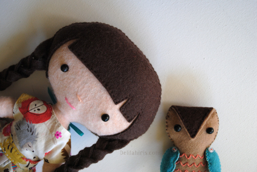 Emily and Owl felt dolls