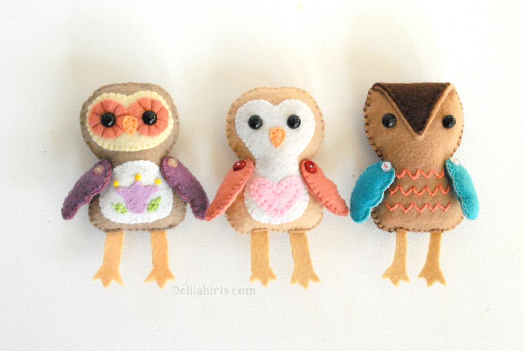 felt owl ornaments pattern
