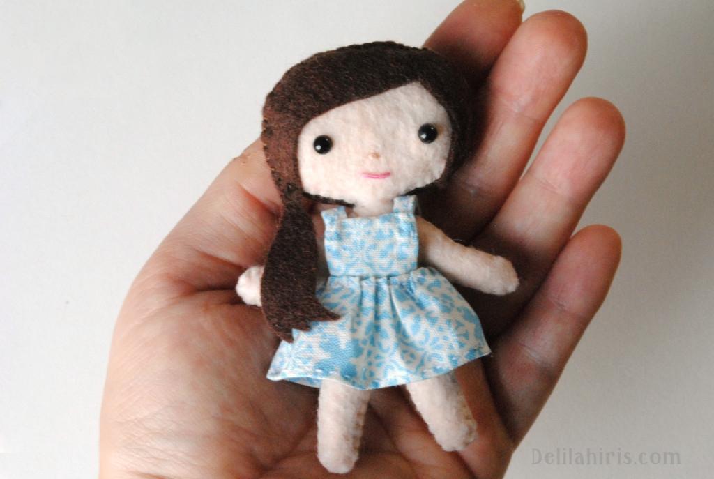 felt pattern mini doll sewing pattern