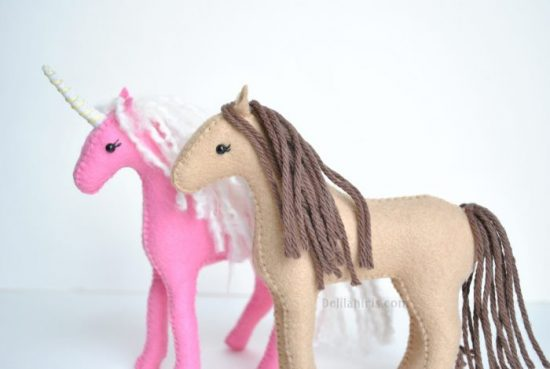felt horse and unicorn