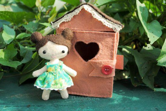 tiny felt doll house doll