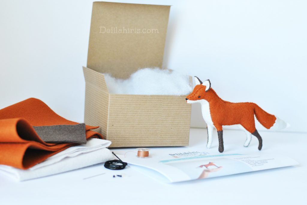 diy felt fox plush kit