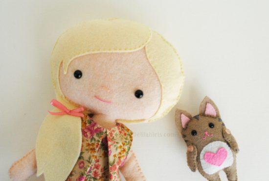 felt cat and doll