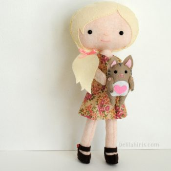 felt doll and cat