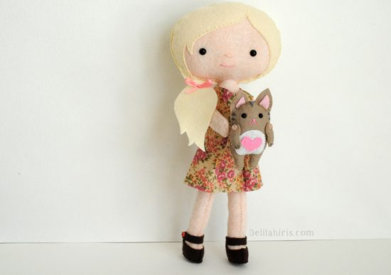 felt doll and cat