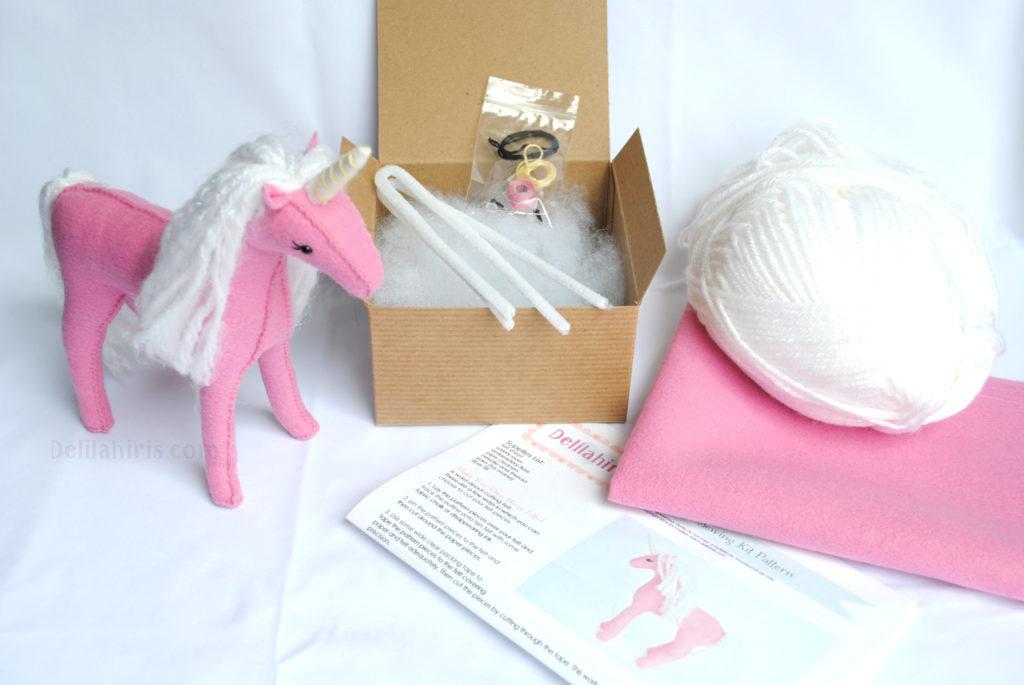 pink stuffed unicorn craft kit