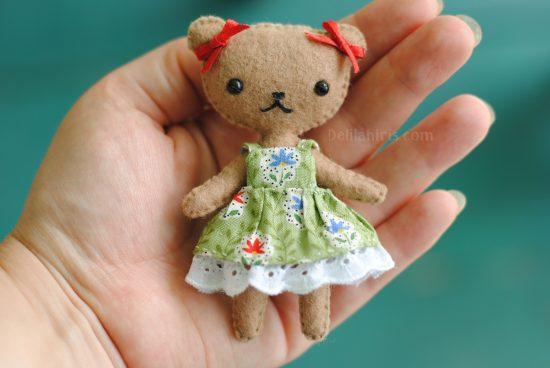 felt teddy bear doll pattern