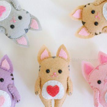 felt kawaii cat sewing pattern