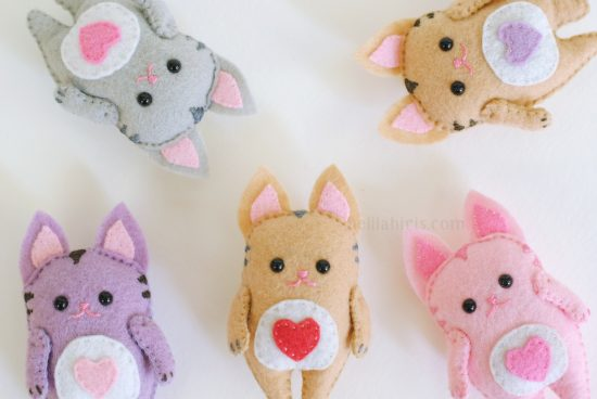 felt kawaii cat sewing pattern