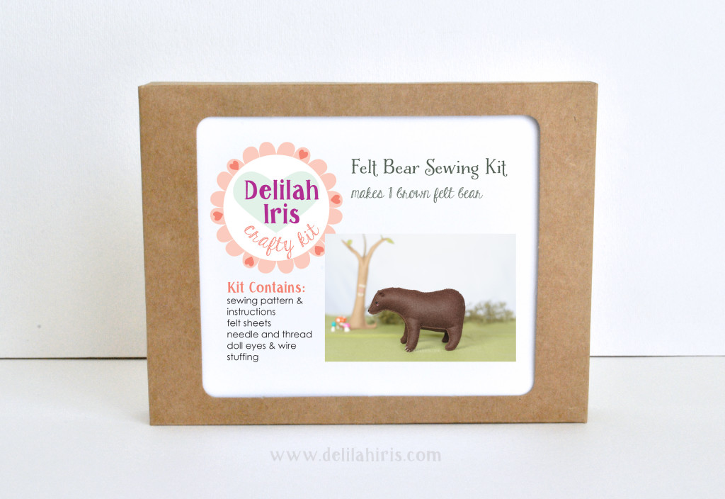 brown bear felt animal sewing kit