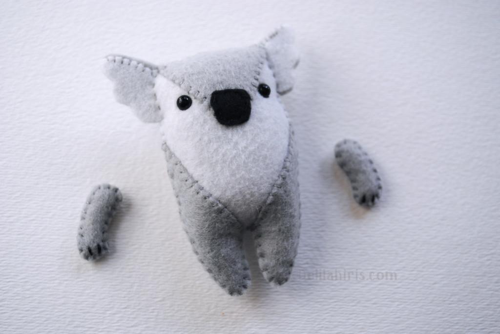 felt koala ornament sewing