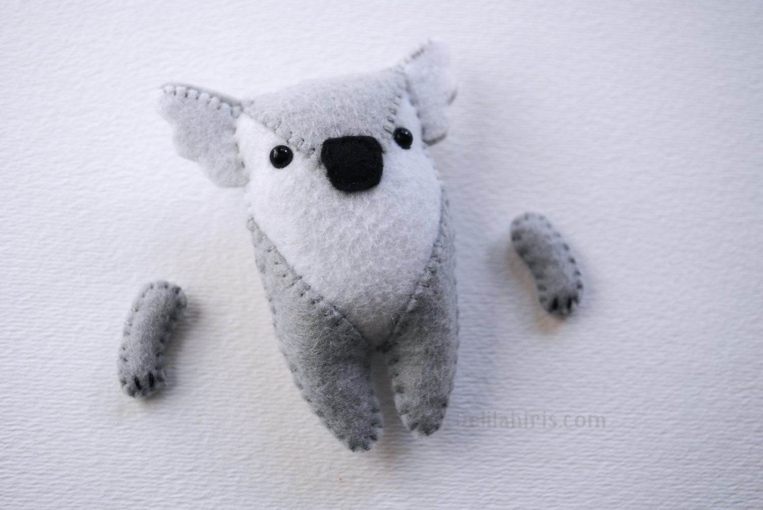 Stuffed Felt Koala Pattern Ornament Or Pocket Feltie