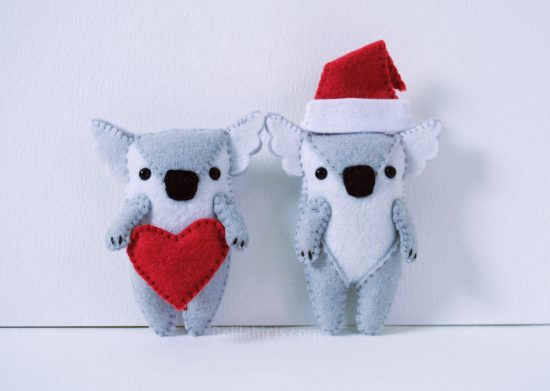 felt stufed koala ornaments