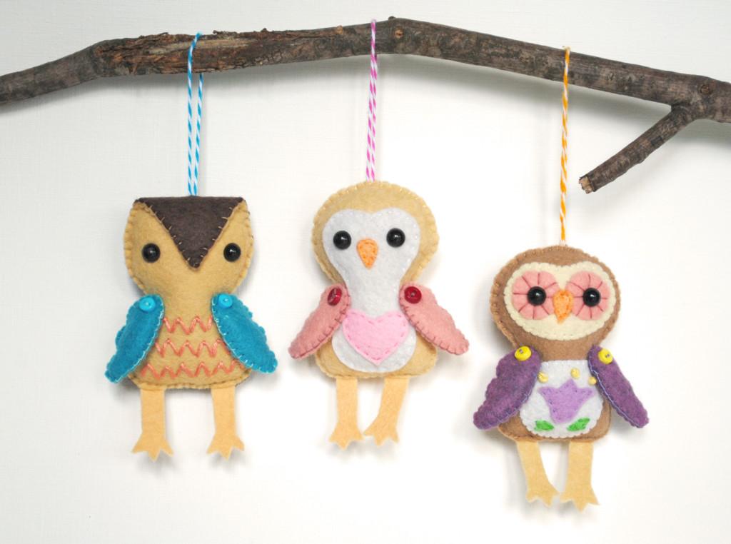 felt ornaments owls