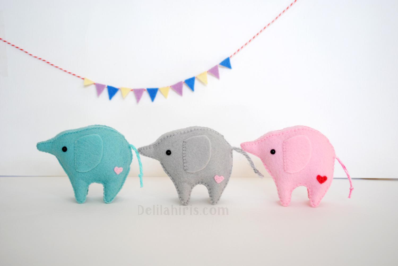 felt baby elephants pattern