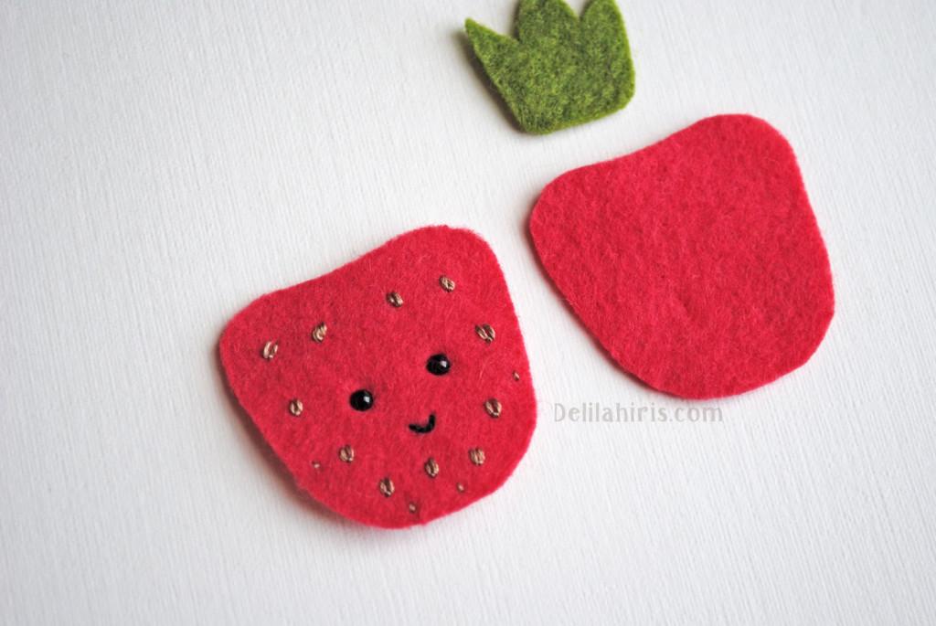 sewing strawberry brooch