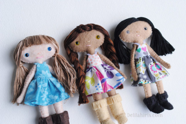 A New Felt Doll Sewing Pattern… Daffodilly Dandelion Dolls Are Here!