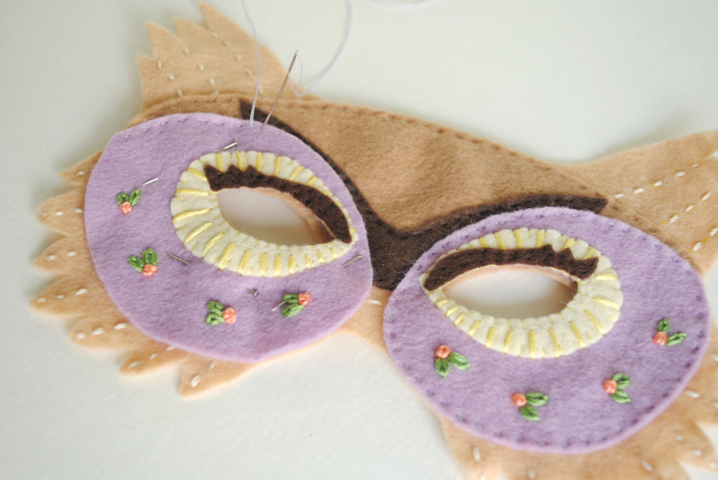 embroidered owl mask tutorial