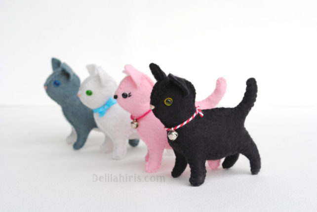 Adorable New Little Felt Cat Pattern – Sew Your Own Little Stuffed Cats!