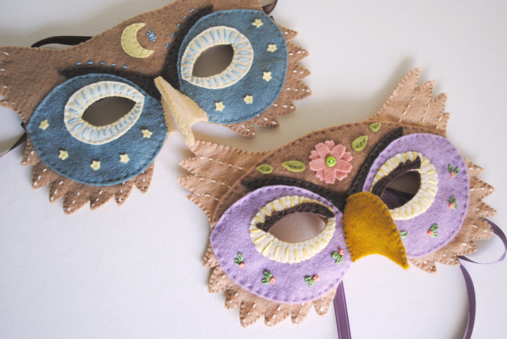 Felt owl mask pattern perfect for halloween or dress up for Make your own halloween mask online