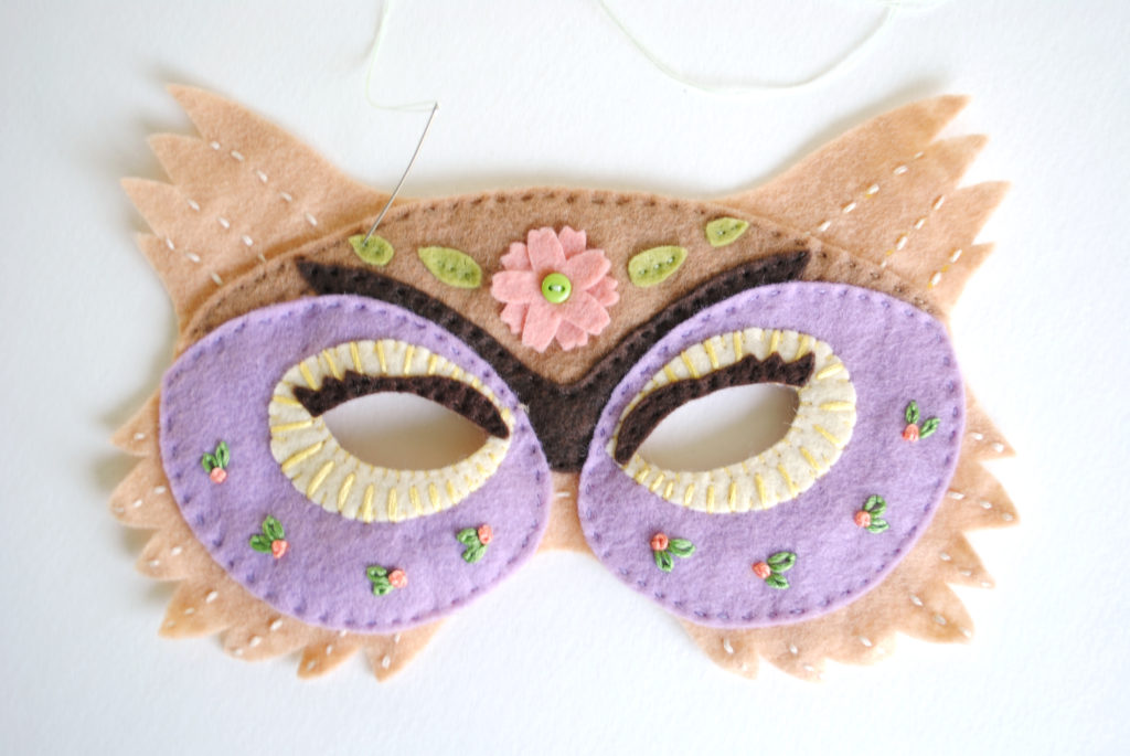 embroidered owl mask felt pattern