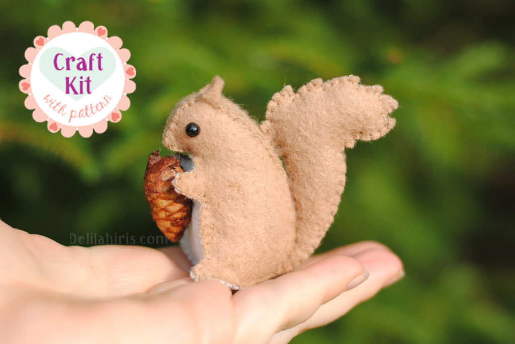 stuffed squirrel craft sewing kit