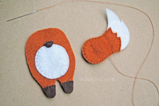 felt fox ornament sewing