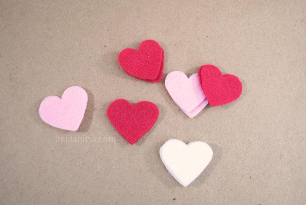 felt hearts valentines craft