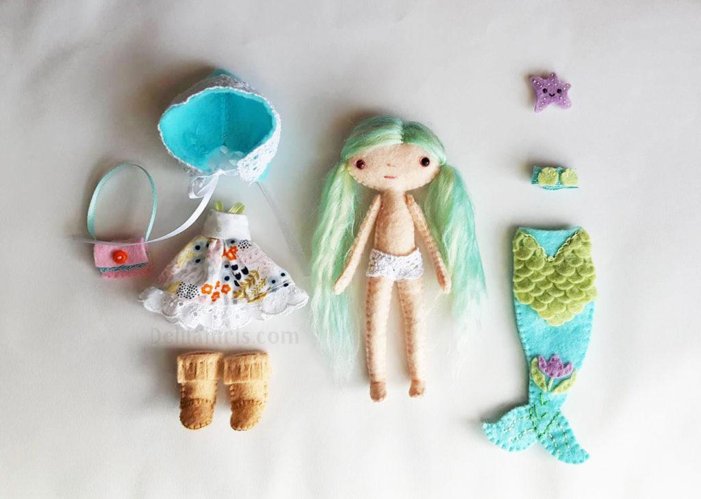 felt mermaid doll play set
