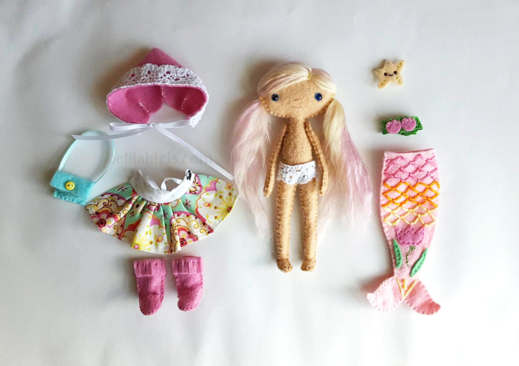 handmade pink felt mermaid doll