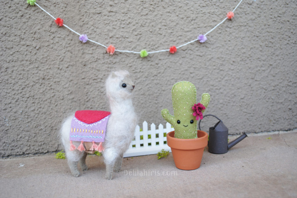 felt alpaca and cactus patterns