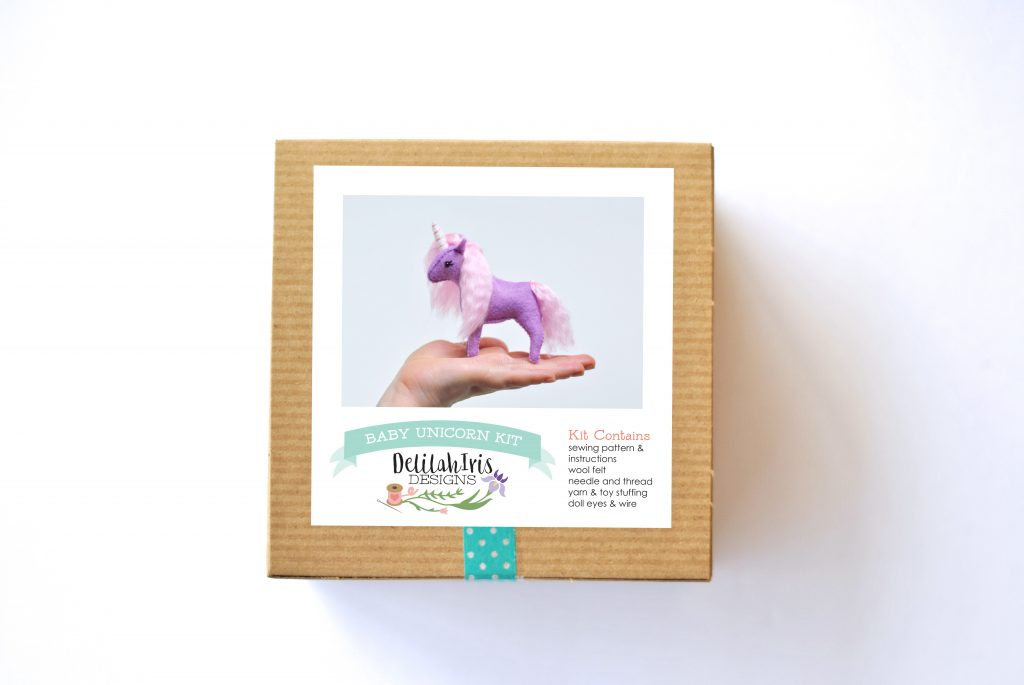 purple unicorn sewing kit