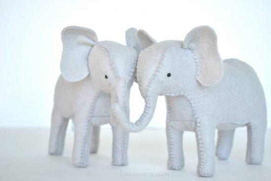 diy felt stuffed elephants