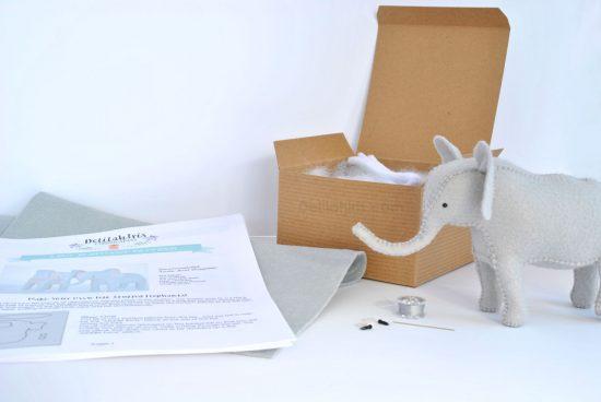 stuffed elephant sewing kit