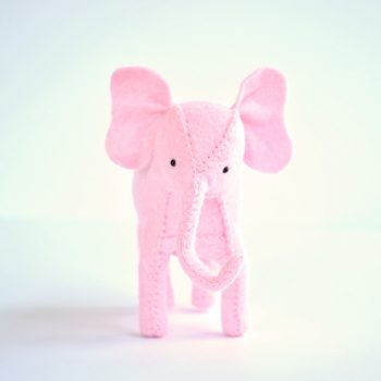 felt pink elephant sewing kit