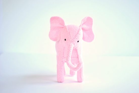 felt pink elephant sewing kit