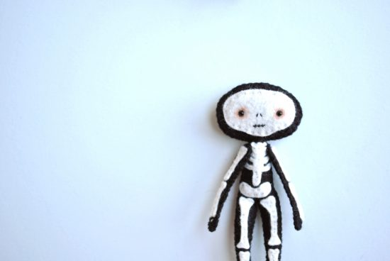 handmade skeleton doll felt pattern