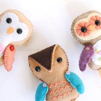 owl ornaments felt pattern