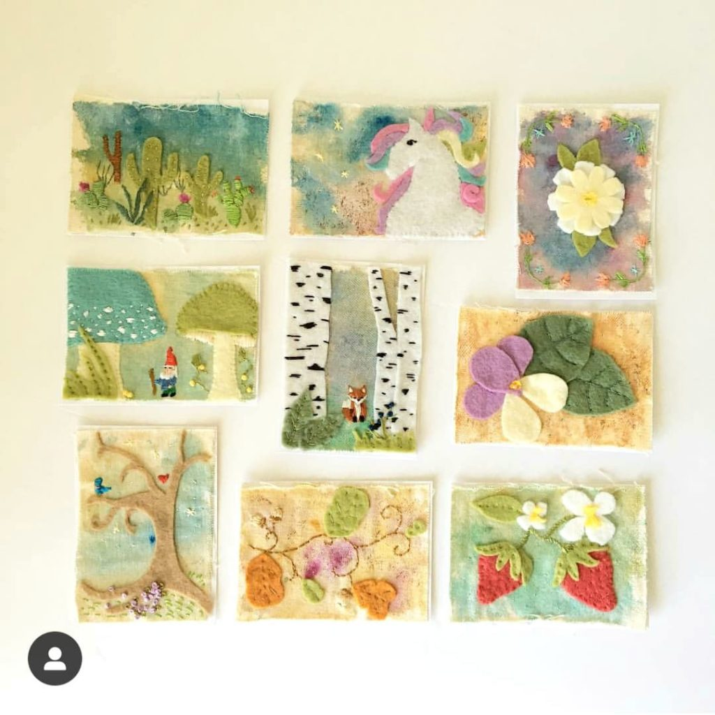 mixed media embroidery and felt art