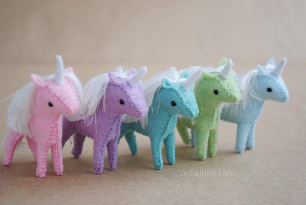 Miniature unicorn DIY sewing tutorial & Felt Pattern