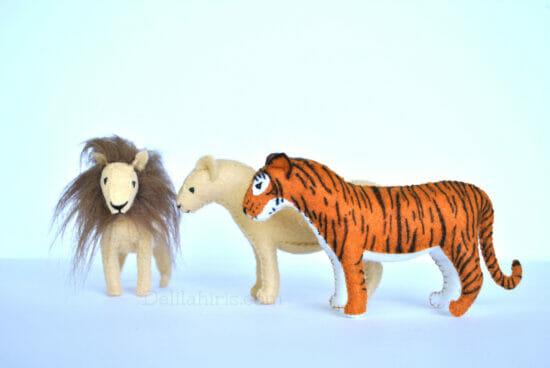 felt lion tiger stuffed animal pattern