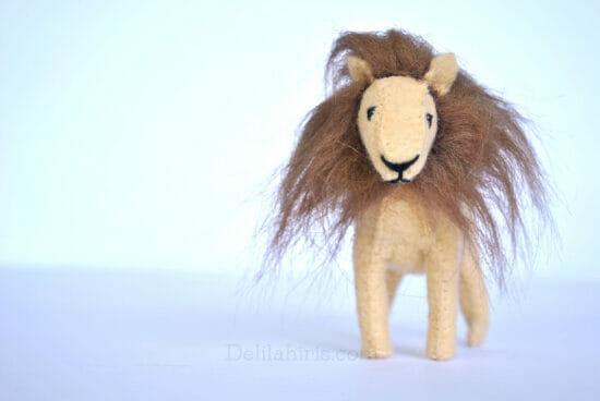 handmade felt stuffed lion toy