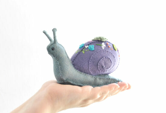 succulent snail felt animal hand sewing kit